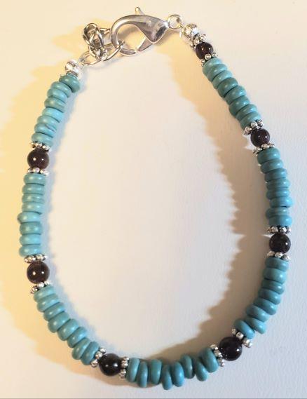 Howlite Turquoise Garnet Bracelet