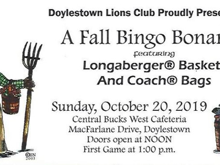 "Supporting Our Community - Doylestown Lions Club ""Fall Bingo Bonanza"" 10-20-2019"