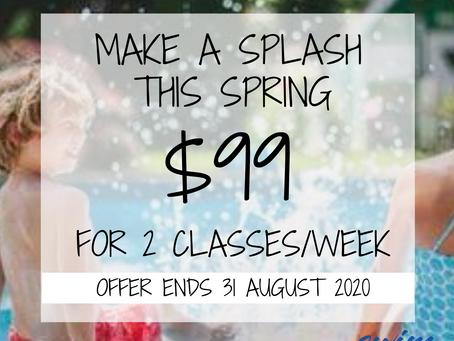 😲 $99 for 2 swimming classes per week 😲