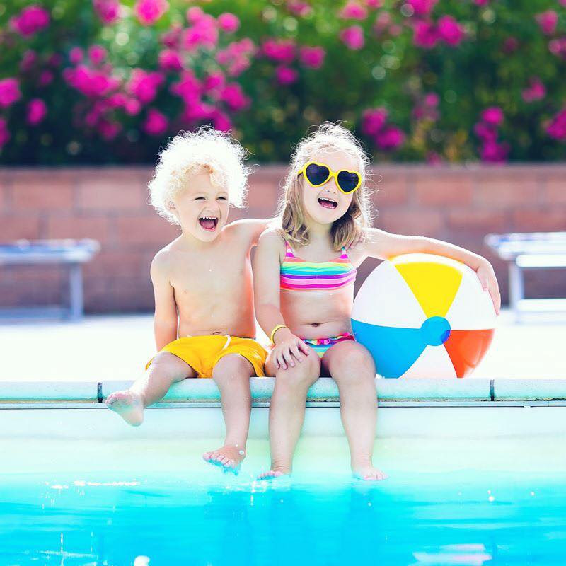 children at outdoor pool