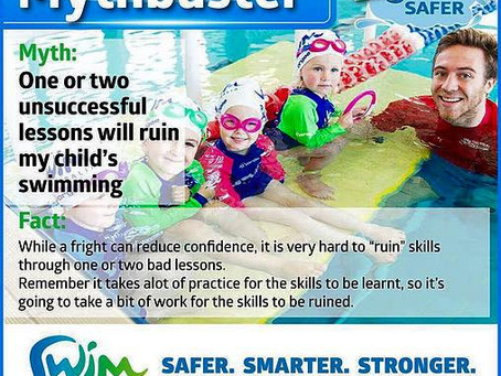Swim Australia Mythbuster Series: One or two unsuccessful lessons will ruin my child's swimming