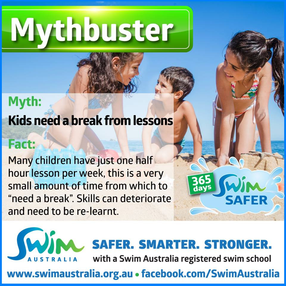 swim australia mythbuster - kids need a break from lessons
