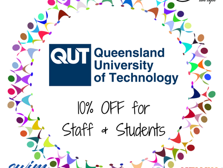 10% off for all Queensland University of Technology students and staff!