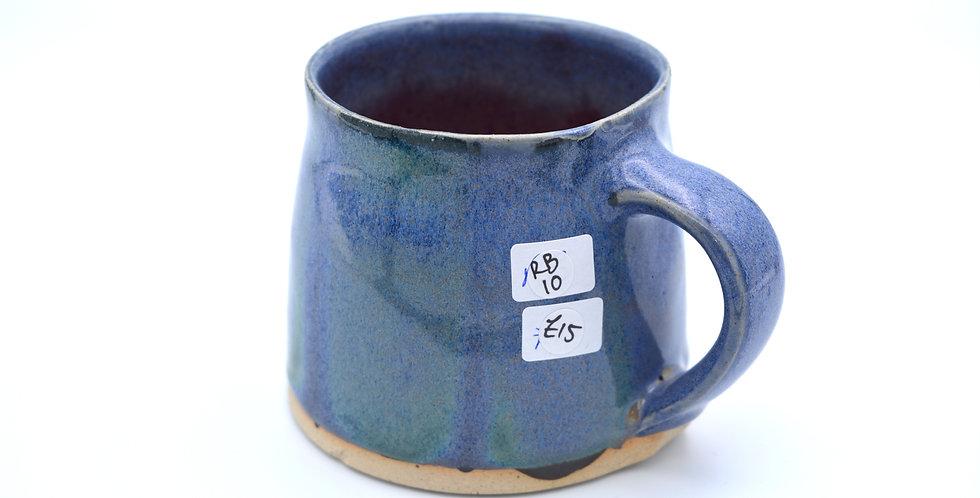 Slip/ glaze mug Blue/green/raspberry 10