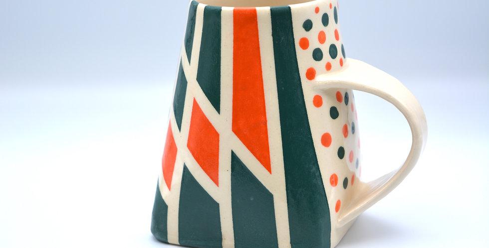 Geometric Mug Green/Orange