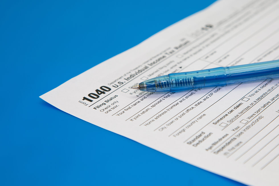 Tax return close-up on a blue background