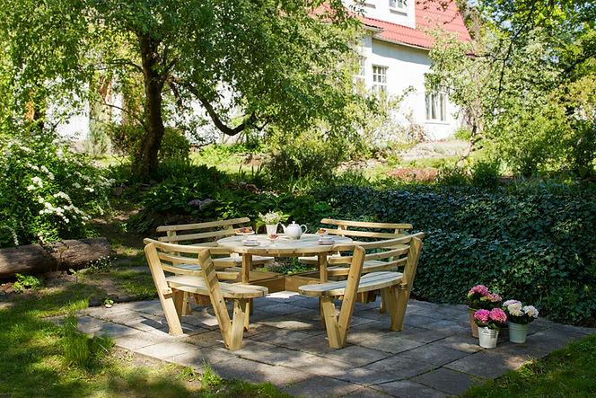 Round Garden Table with Backrests Pressu