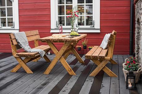 Cross Leg Garden Table Set Pressure Trea