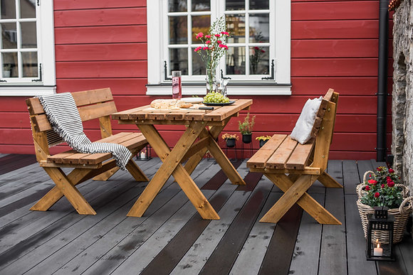 Cross Leg Garden Table Set
