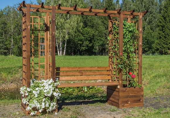 Large Garden Arbour with Planters