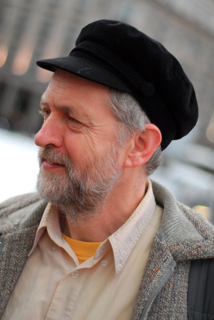 Jeremy Corbyn wearing black hat