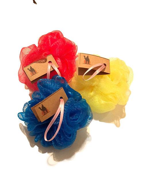 3lü Yumuşak PonPon Banyo Lifi -Mavi Kırmızı Sarı-Develi ®