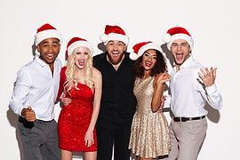 Freunde mit Santa Hats