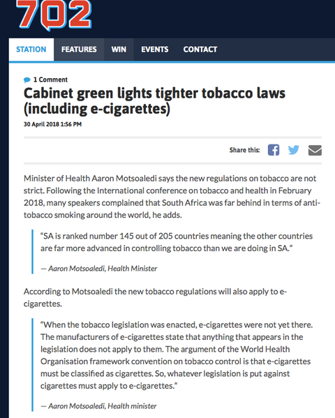 South Africa is far behind global tobacco laws