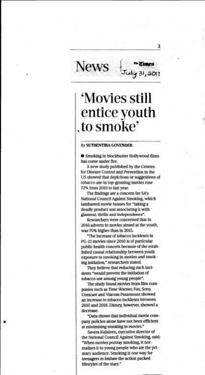National Council Against Smoking calls for a reduction of smoking impressions in movies