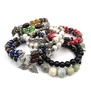 One size fits all - fully adjustable memory wire bracelets.  Come in various styles and colors.