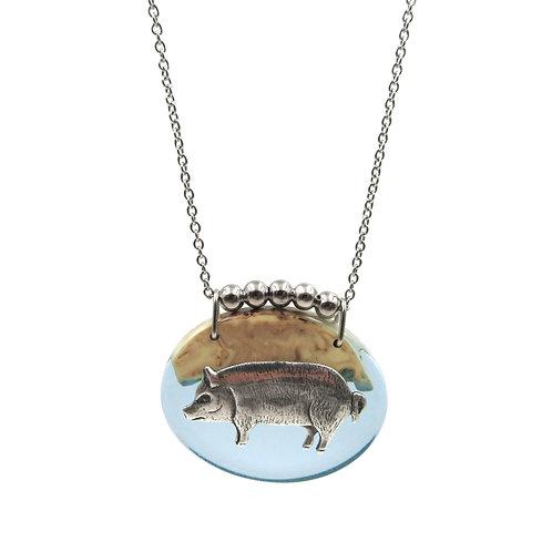 Barnyard Pig Pendant Necklace