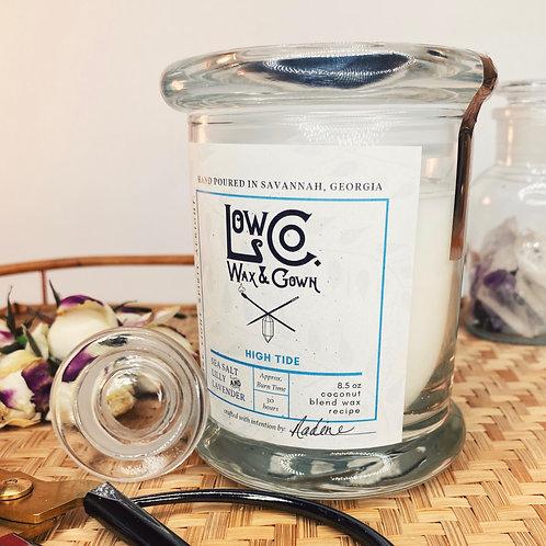 High Tide - Peace  & Harmony/ Coconut + Apricot  Wax + Amethyst + Quartz