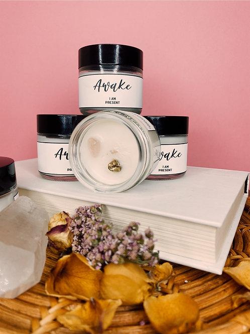 Awake - Affirmation Wax Recipe /Coconut + Soy Wax + Gold Bean + Rose Quartz