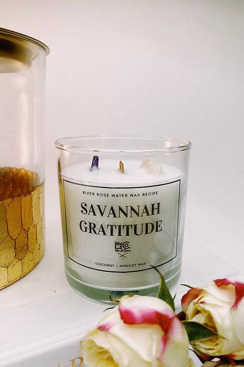 Savannah Gratitude/ Coconut + Apricot  Wax + Amethyst + Quartz