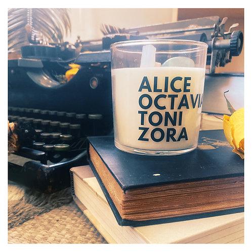 She Inspires Literary Candle - Alice, Octavia, Toni, Zora