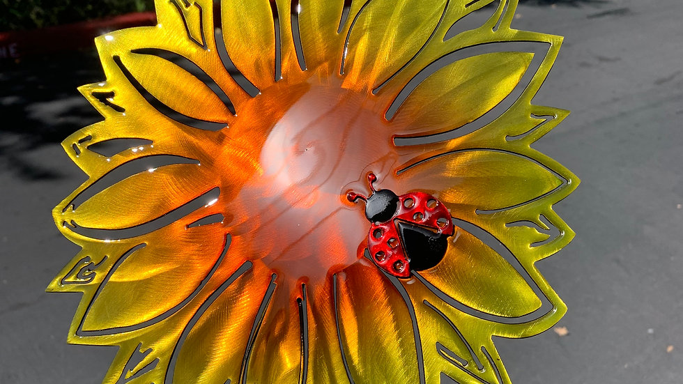 Sunny Sunflower with Ladybug