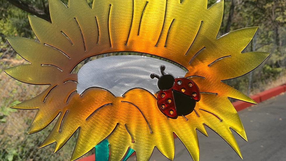 Folded Sunflower with Lady Bug Yard Stake