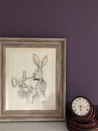 Hare For Sale Playing Jazz Framed