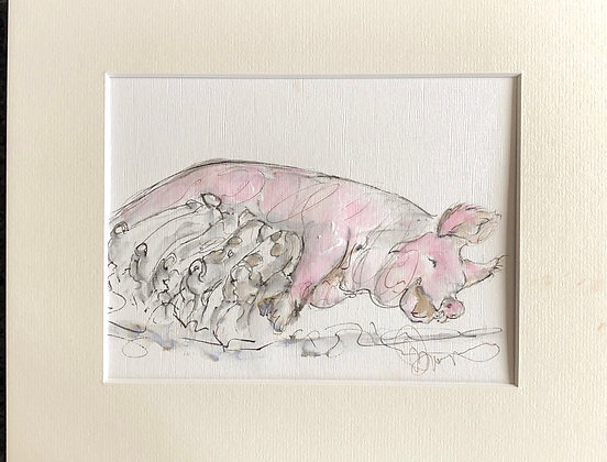 Mummy Pig and Babies Drawing For Sale