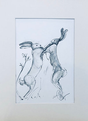 Boxing Hares For Sale Original (mounted)