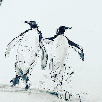 Penguins For Sale (original mounted)