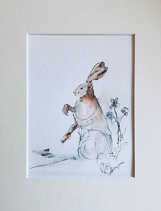 """""""Warm up"""" Hare Drawing For Sale"""