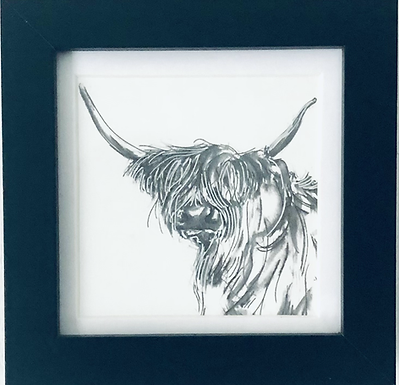 Cow from Minchinhampton Framed Miniature Print