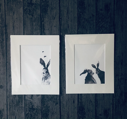 Hare Prints now available for sale / Two Hares peeping