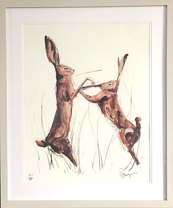 Boxing Hares For Sale (limited edition of 20) Framed