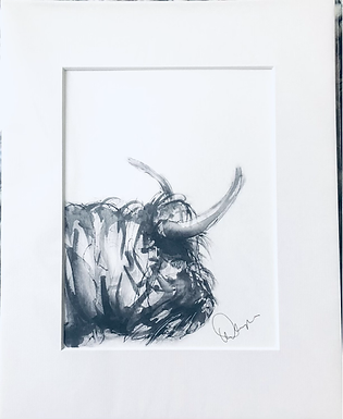 Cow from the Common  A5 Print Mounted