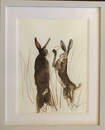 Boxing Hares Brown