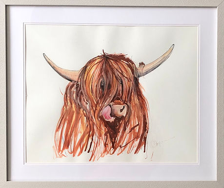 Highland Cow with Mortimer the mouse for sale ( Limited Edition)