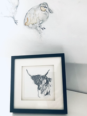 Cow from Minchinhampton - Miniature framed Print