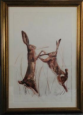 Boxing Hares For Sale -  large framed  Gold