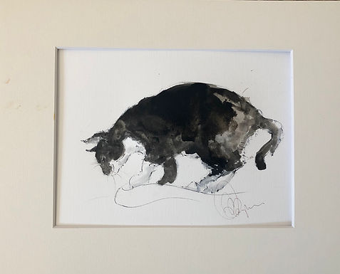 Cat Drawing For Sale mounted unframed