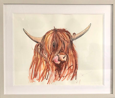 ORIGINAL Highland Cow with Mortimer the Mouse