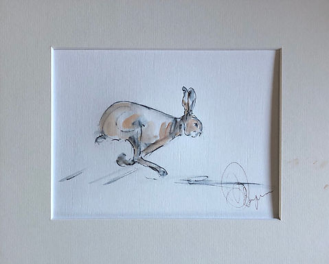 """""""On the Chase"""" Hare Drawing For Sale"""