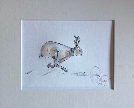 """On the Chase"" Hare Drawing For Sale"