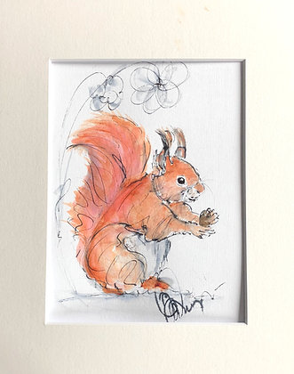 Red Squirrel Original Drawing For Sale