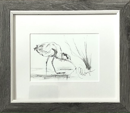 Original Grey Heron framed