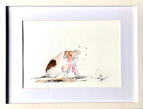 Pig For Sale  White Frame ready to hang