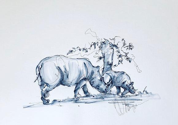 Rhinos - Mother and baby - Original sketch on location