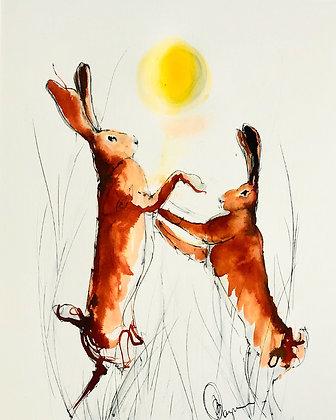 Boxing Hares For Sale Original Framed