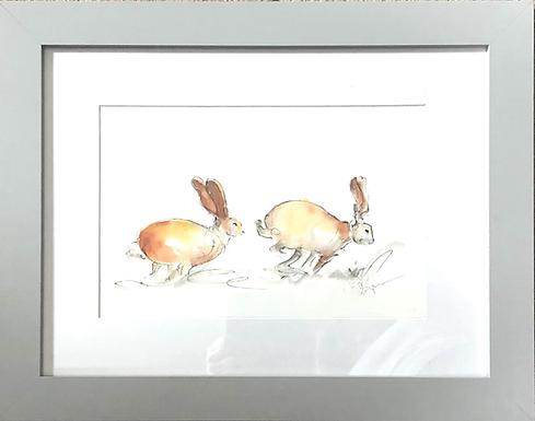 Original Chasing Hares - framed